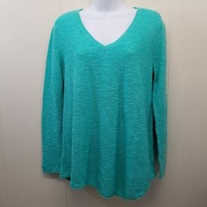 Eileen Fisher M Aqua Sweater Pullover Boxy Linen